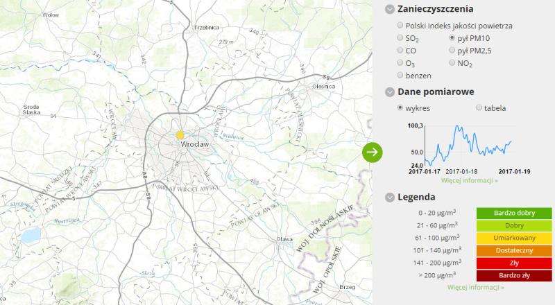 Jakość powietrza we Wrocławiu (godz. 14)