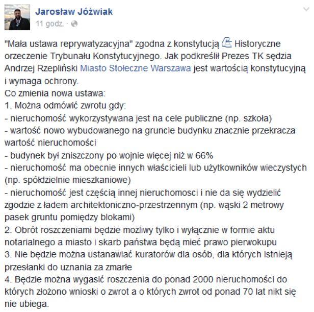 Co zmienia nowa ustawa? Jarosław Jóźwiak / facebook