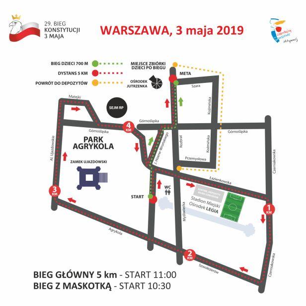 Przebieg trasy Biegu Konstytucji 3 Maja Urząd miasta Warszawy