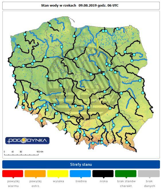 Stan wody w rzekach 9 sierpnia o godz. 8 (IMGW)