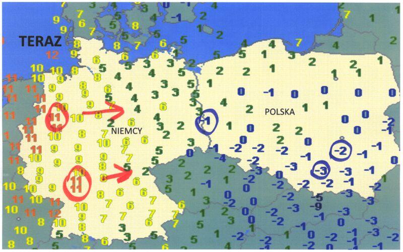 Temperatura powietrza we wtorek o godzinie 6.30 (wetteronline.de)