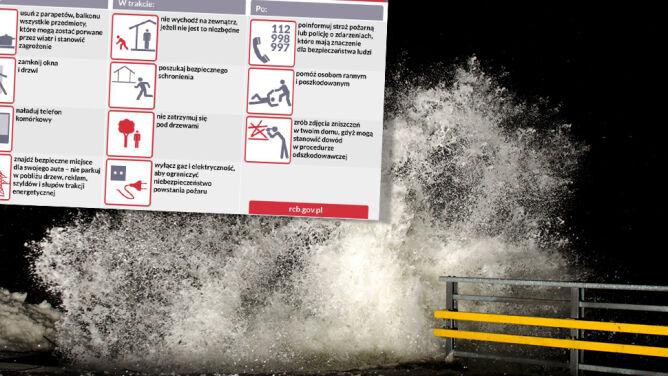 Wiatr może być zagrożeniem dla życia. <br />Alarmy drugiego i pierwszego stopnia