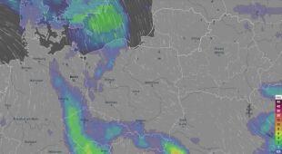 Prognozowane opady w najbliższych dniach (film: Ventusky.com)